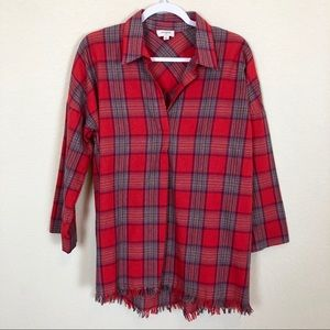 EUC Umgee Plaid Oversized Top with Raw Hem Size S